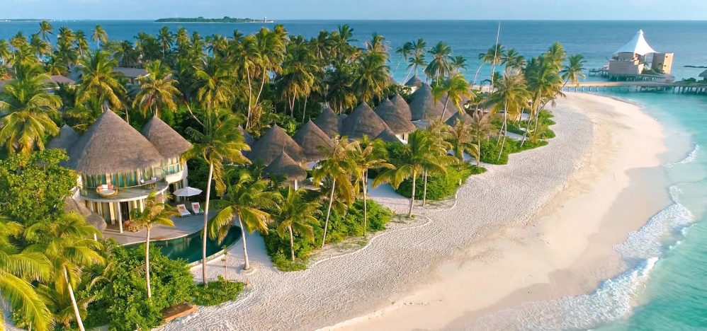 The Nautilus Maldives Luxury Resort - Thiladhoo Island, Maldives - Beachfront Panorama Aerial