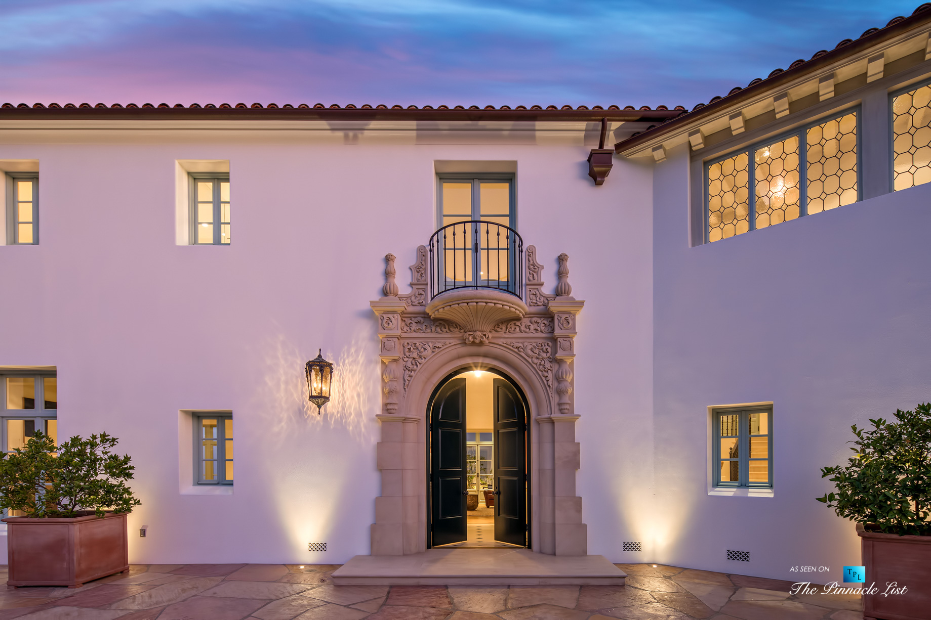 Hollywood Hills Luxury Estate – 9240 Robin Dr, Los Angeles, CA, USA – Night Front Door