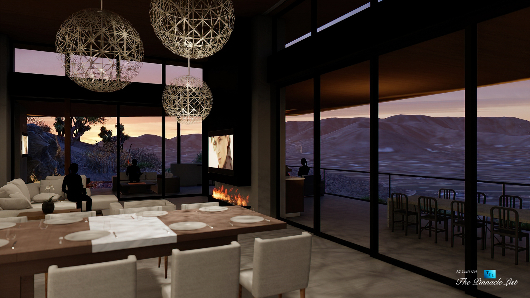 Mummy Mountain Luxury Residence – 5221 E Cheney Dr, Paradise Valley, AZ, USA – Dining and Living Room Night