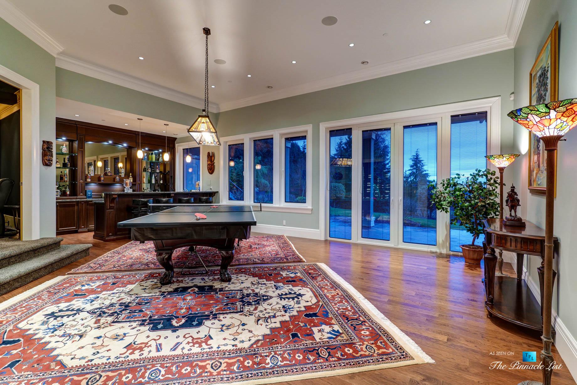 Pinnacle Ridge Luxury Estate – 2057 Ridge Mountain Dr, Anmore, BC, Canada – Entertainment Room and Bar