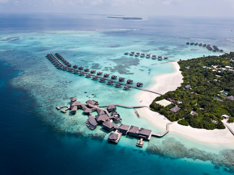 Six Senses Laamu Luxury Resort - Laamu Atoll, Maldives - Chill Bar and Longitude Resort Aerial View