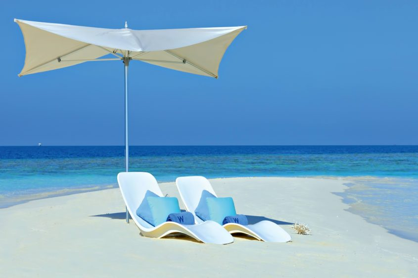 W Maldives Luxury Resort - Fesdu Island, Maldives - White Sand Beach Umbrella Chairs_