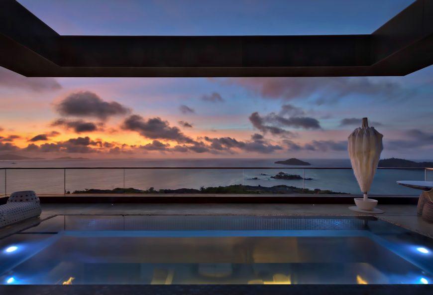 Six Senses Zil Pasyon Luxury Resort - Felicite Island, Seychelles - Private Four Bedroom Residence Master Pool Sunset