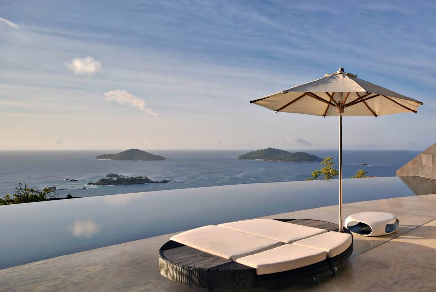 Six Senses Zil Pasyon Luxury Resort - Felicite Island, Seychelles - Private Four Bedroom Residence Terrace View of Sister Islands