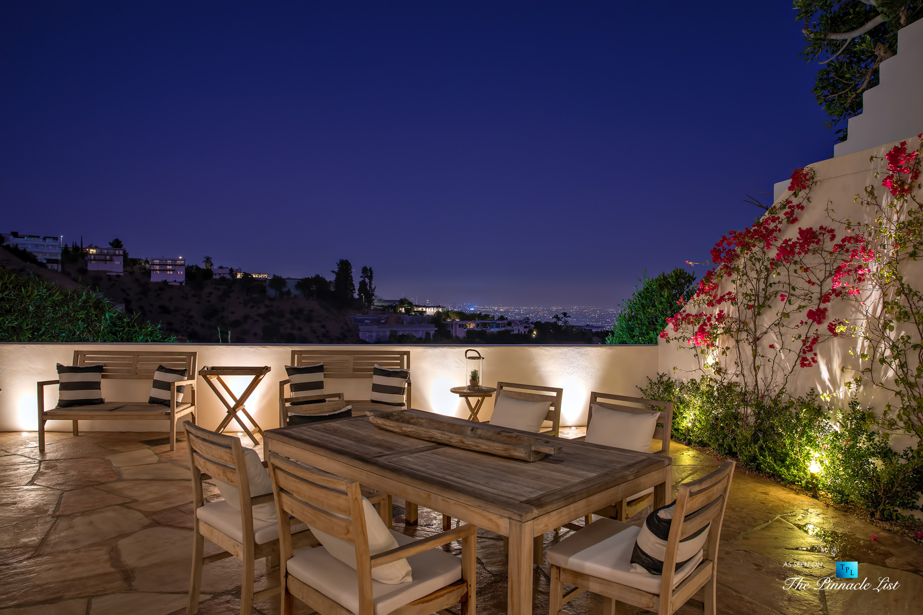 Hollywood Hills Luxury Estate – 9240 Robin Dr, Los Angeles, CA, USA – Night Deck View