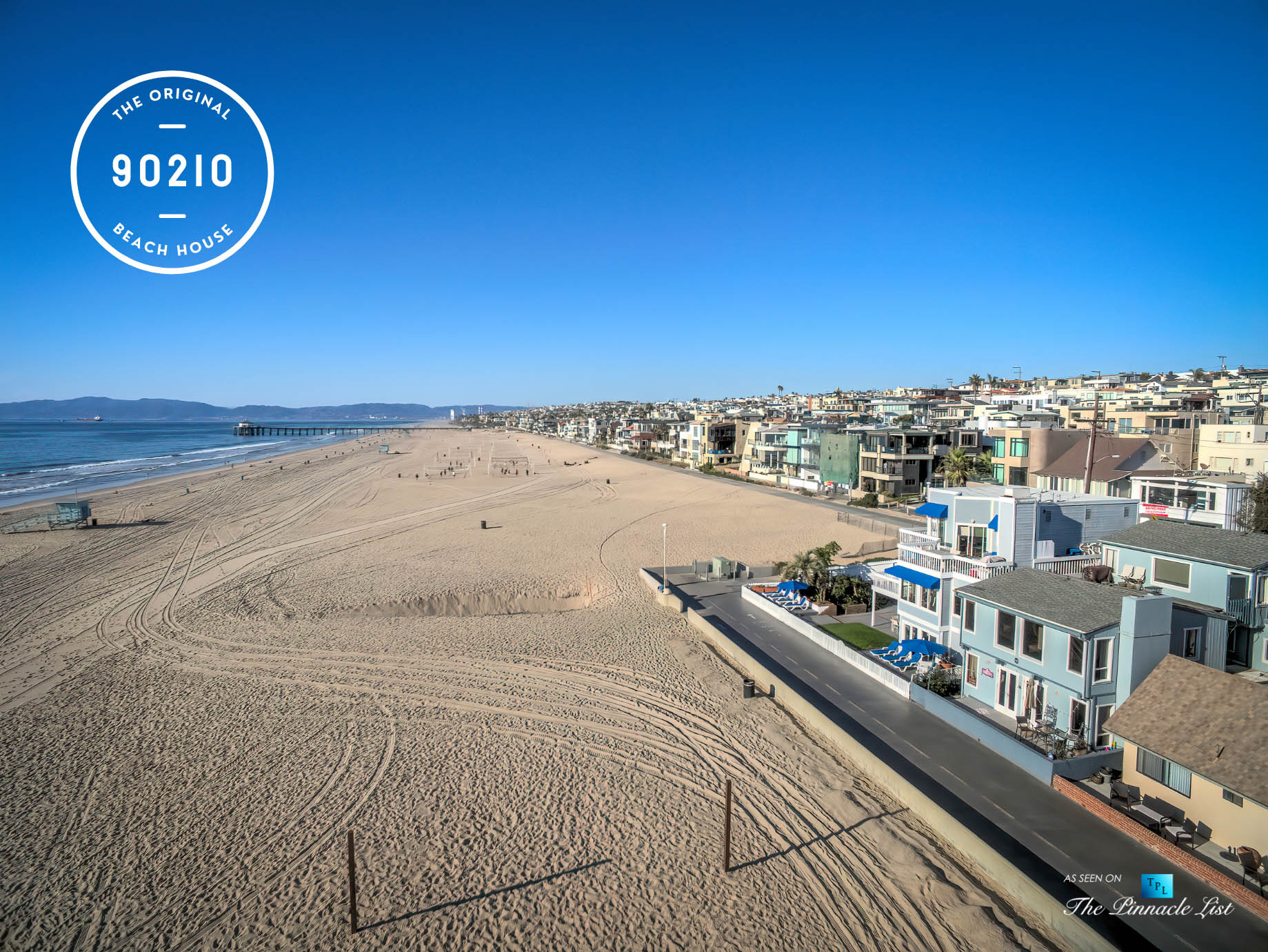 The Original 90210 Beach House - 3500 The Strand, Hermosa Beach, CA, USA - Beachfront Location Aerial View