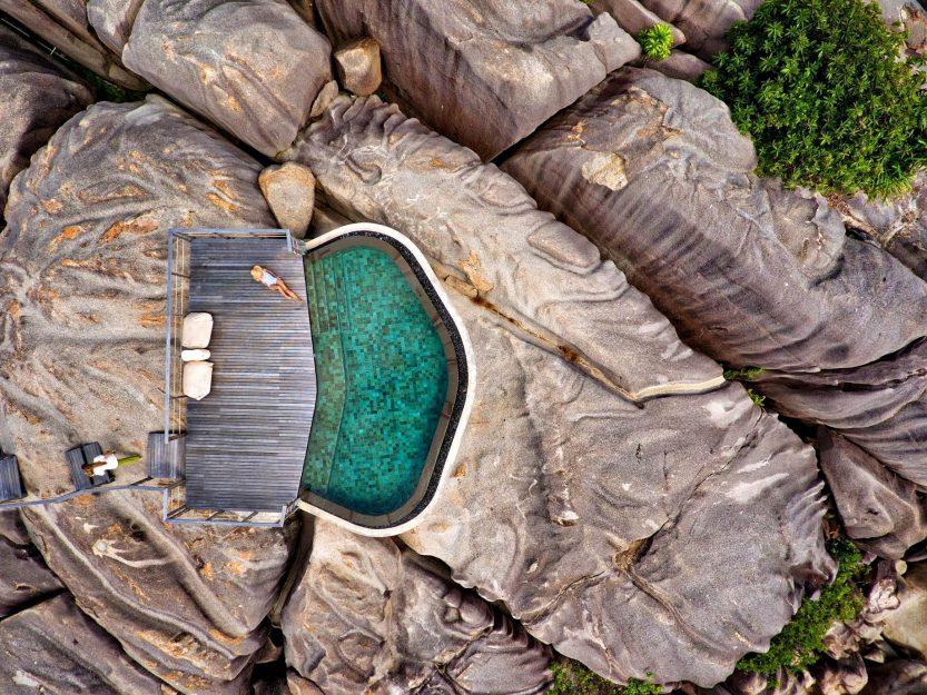 Six Senses Zil Pasyon Luxury Resort - Felicite Island, Seychelles - Spa Pool Aerial