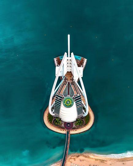 Burj Al Arab Luxury Hotel - Jumeirah St, Dubai, UAE - Tower Overhead View
