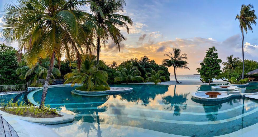 Six Senses Laamu Luxury Resort - Laamu Atoll, Maldives - Resort Pool Sunset