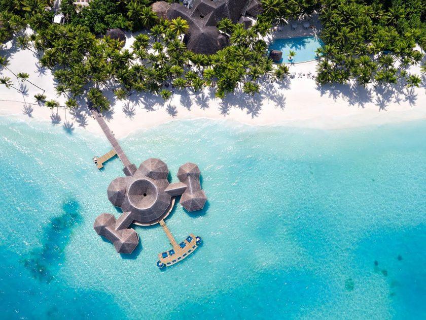 Gili Lankanfushi Luxury Resort - North Male Atoll, Maldives - Overwater Bar Overhead Aerial