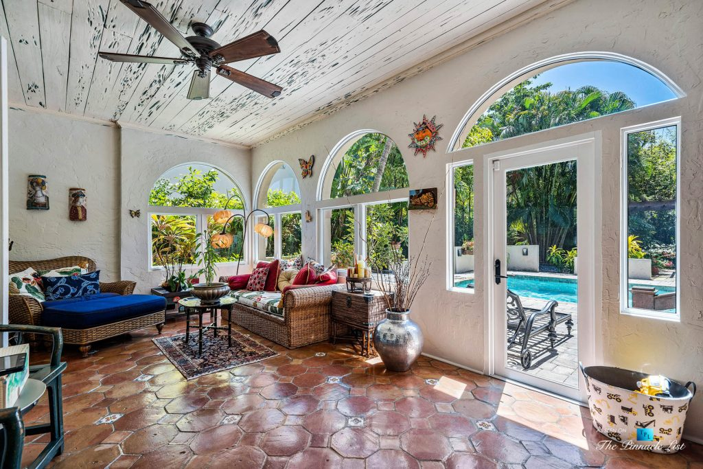 Addison Mizner Old Floresta Home – 888 Oleander St, Boca Raton, FL, USA - Sun Room and Pool