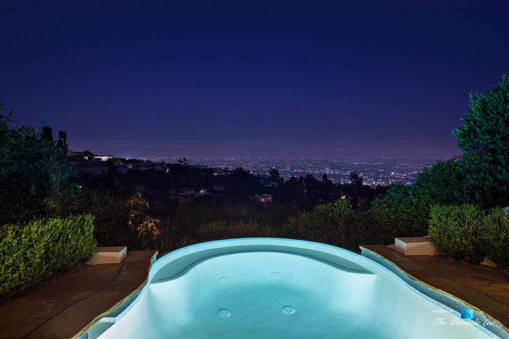 Hollywood Hills Luxury Estate - 9240 Robin Dr, Los Angeles, CA, USA - Night Pool View