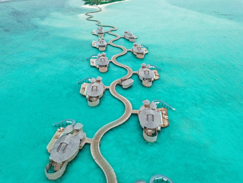 Soneva Jani Luxury Resort - Noonu Atoll, Medhufaru, Maldives - Overwater Villa Jetty Aerial