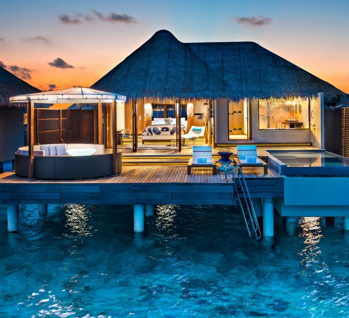 W Maldives Luxury Resort - Fesdu Island, Maldives - Overwater Bungalow Dusk