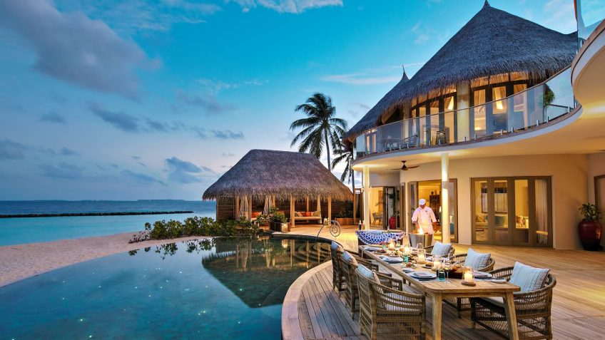 The Nautilus Maldives Luxury Resort - Thiladhoo Island, Maldives - Oceanfront Mansion Twilight Dining