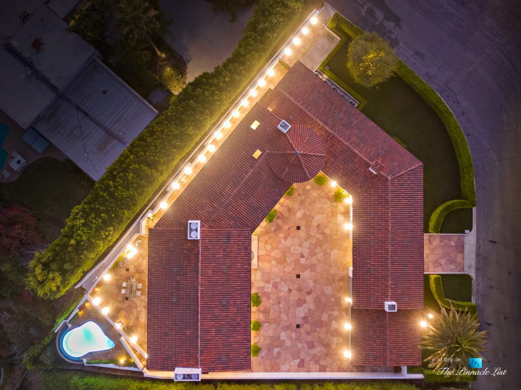 Hollywood Hills Luxury Estate - 9240 Robin Dr, Los Angeles, CA, USA - Night Overhead Aerial View
