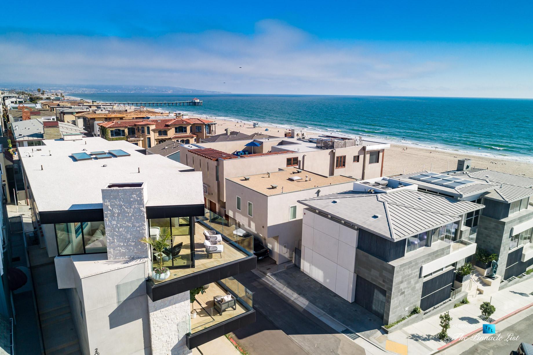 Ultra Modern Luxury Residence – 2016 Ocean Dr, Manhattan Beach, CA, USA – Aerial Beach View