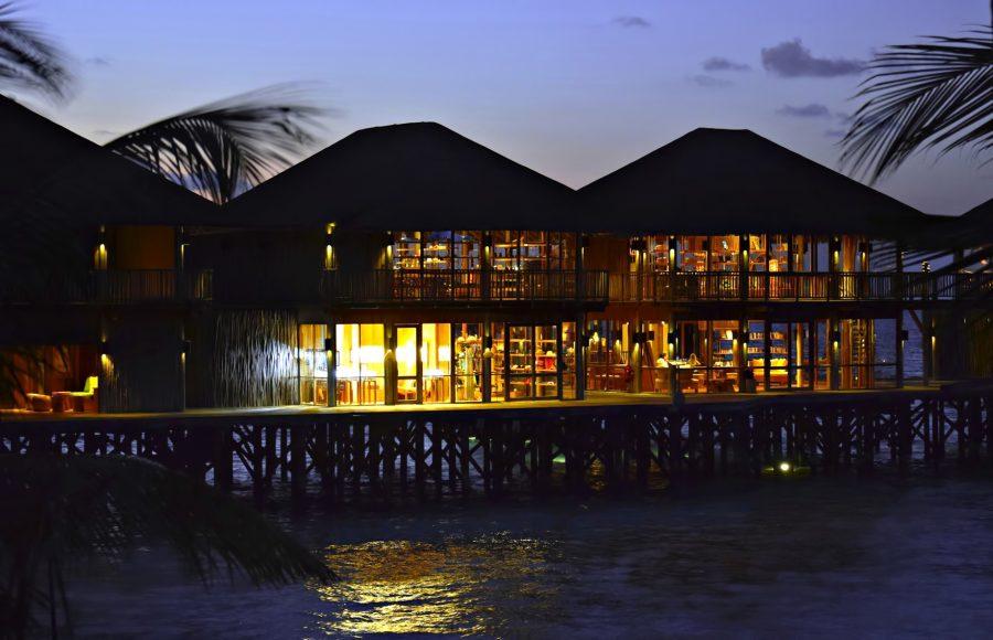 Six Senses Laamu Luxury Resort - Laamu Atoll, Maldives - Overwater Restaurant Sunset
