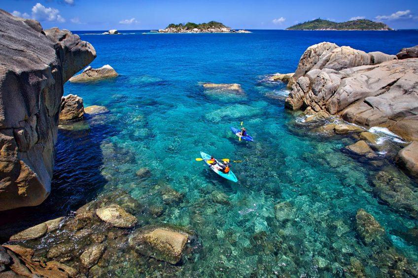 Six Senses Zil Pasyon Luxury Resort - Felicite Island, Seychelles - Kayaking to Koko Island