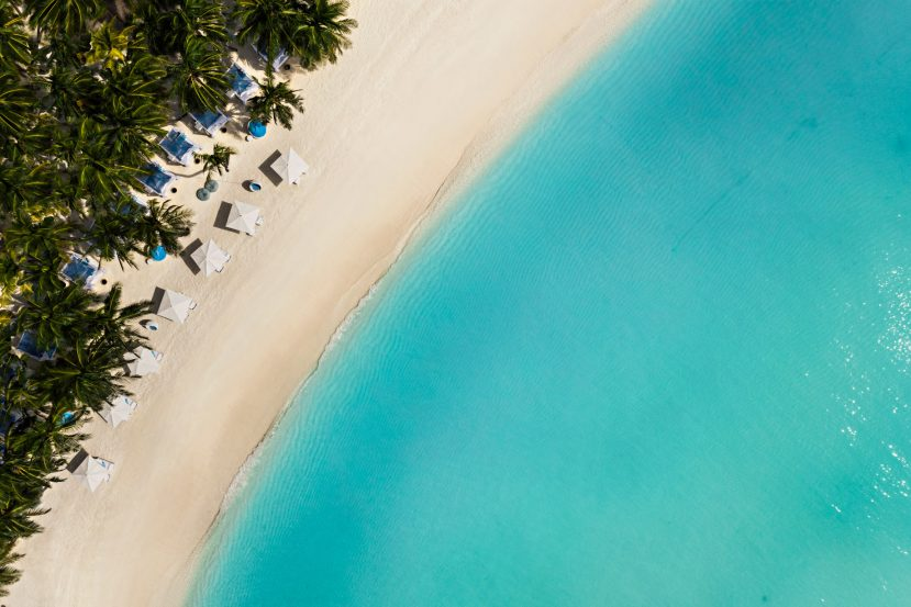 One&Only Reethi Rah Luxury Resort - North Male Atoll, Maldives - Beach Club Oceanfront Overhead Aerial
