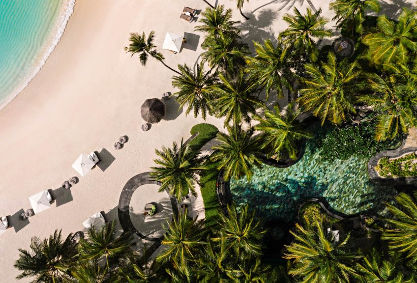 One&Only Reethi Rah Luxury Resort - North Male Atoll, Maldives - Beach Club Oceanfront Pool Overhead Aerial