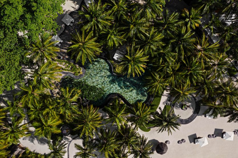 One&Only Reethi Rah Luxury Resort - North Male Atoll, Maldives - Beach Club Oceanfront Pool Overhead