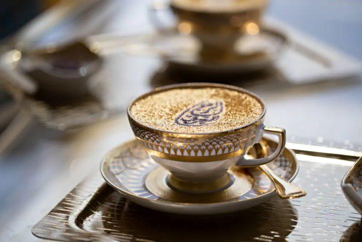 Burj Al Arab Luxury Hotel - Jumeirah St, Dubai, UAE - Sahn Eddar Lounge Gold Cappuccino