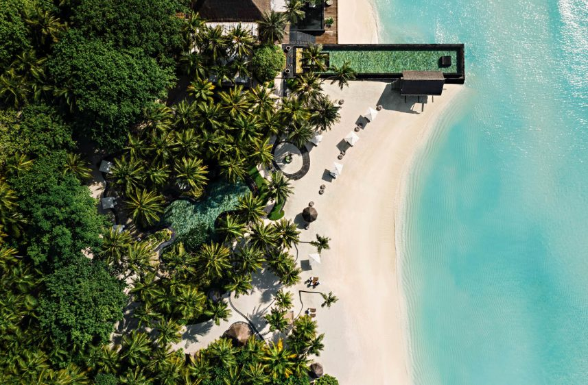 One&Only Reethi Rah Luxury Resort - North Male Atoll, Maldives - Overwater Beachfront Infinity Pool Overhead Aerial