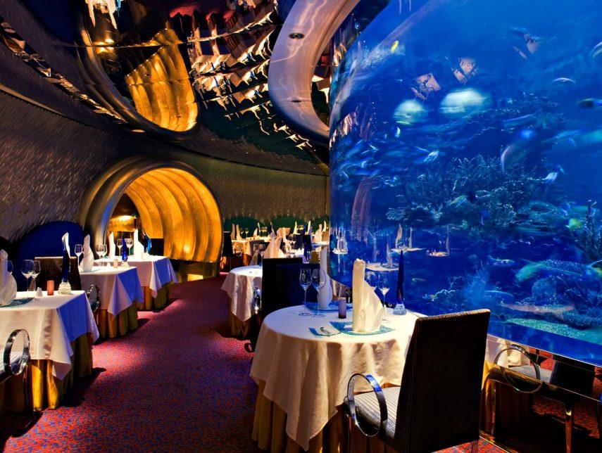 Burj Al Arab Luxury Hotel - Jumeirah St, Dubai, UAE - Al Mahara Restaurant Aquarium