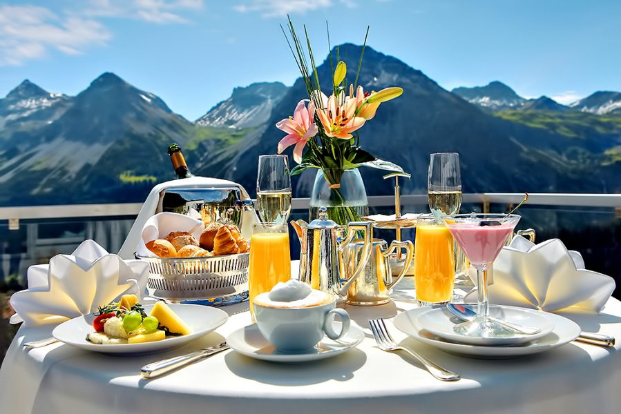 Tschuggen Grand Luxury Hotel - Arosa, Switzerland - Breakfast Mountan View