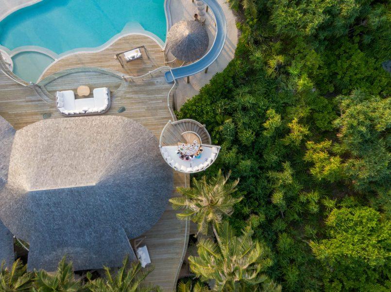 Soneva Jani Luxury Resort - Noonu Atoll, Medhufaru, Maldives - 3 Bedroom Island Reserve Villa Pool Deck Lounge Overhead Aerial
