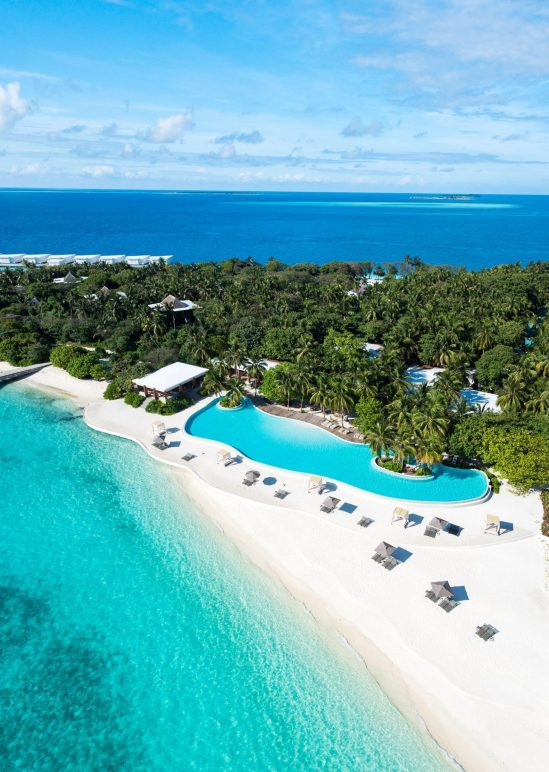 Amilla Fushi Luxury Resort and Residences - Baa Atoll, Maldives - Oceanfront Infinity Edge Pool Aerial View