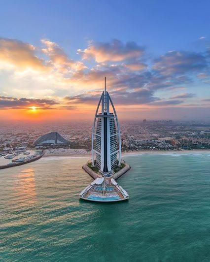 Burj Al Arab Luxury Hotel - Jumeirah St, Dubai, UAE - Sunset