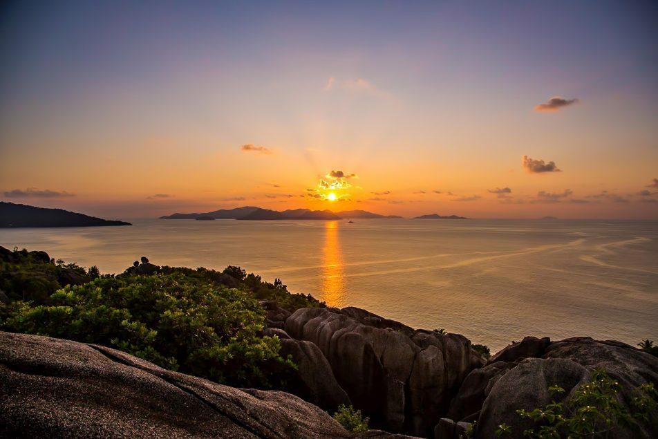 Six Senses Zil Pasyon Luxury Resort - Felicite Island, Seychelles - Sunset View Over Praslin Island from Felicite Hilltop