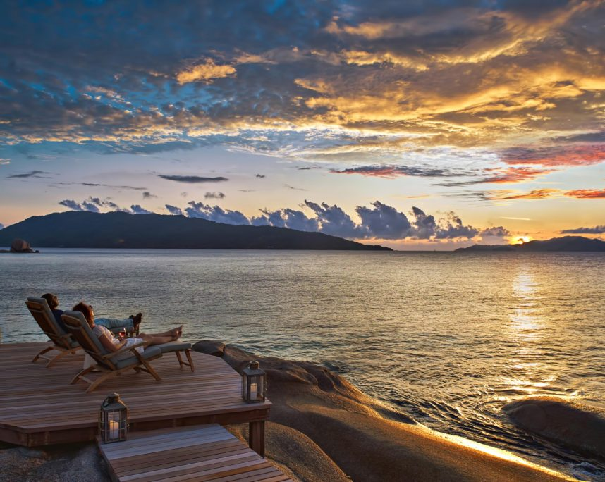 Six Senses Zil Pasyon Luxury Resort - Felicite Island, Seychelles - Oceanfront Deck Sunset