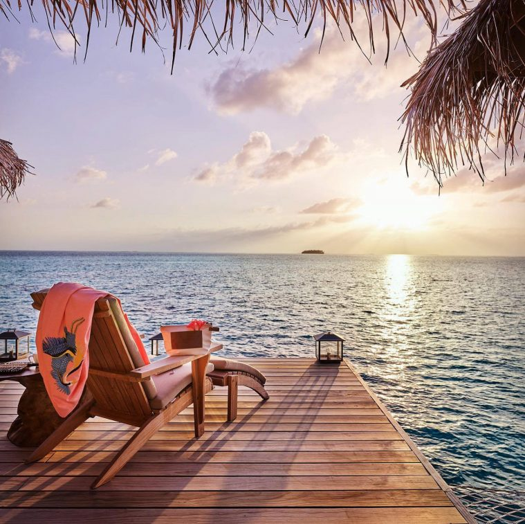 Joali Maldives Luxury Resort - Muravandhoo Island, Maldives - Over Water Deck Chair Sunset