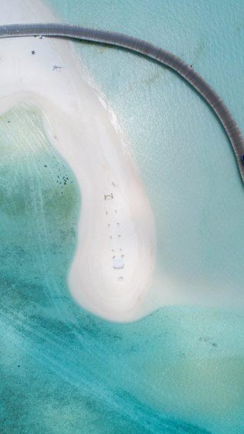 Soneva Jani Luxury Resort - Noonu Atoll, Medhufaru, Maldives - White Sand Beach Boardwalk Aerial Overhead View