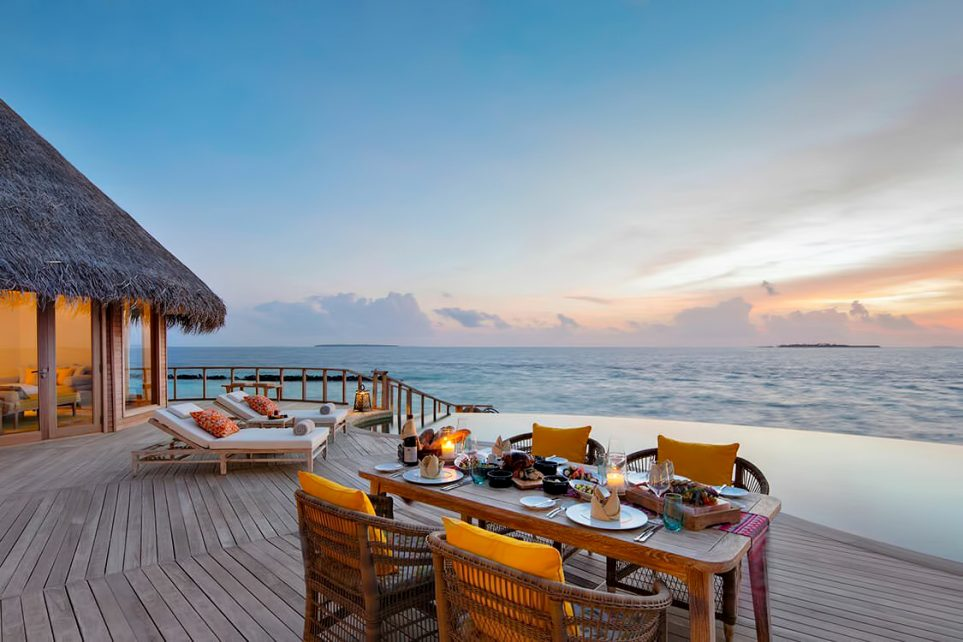 The Nautilus Maldives Luxury Resort - Thiladhoo Island, Maldives - Overwater Residence Pool Deck Sunset