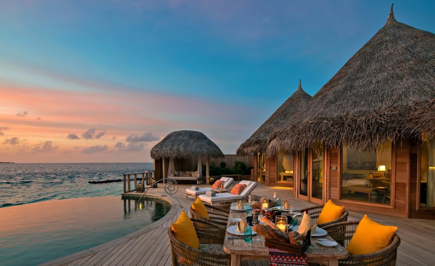 The Nautilus Maldives Luxury Resort - Thiladhoo Island, Maldives - Overwater Residence Infinity Pool Dusk
