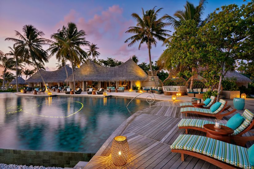 The Nautilus Maldives Luxury Resort - Thiladhoo Island, Maldives - Resort Pool Sunset