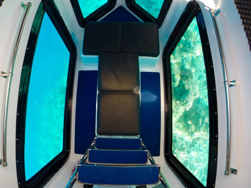 Amilla Fushi Luxury Resort and Residences - Baa Atoll, Maldives - Penguin Glass Bottom Boat Interior Seating