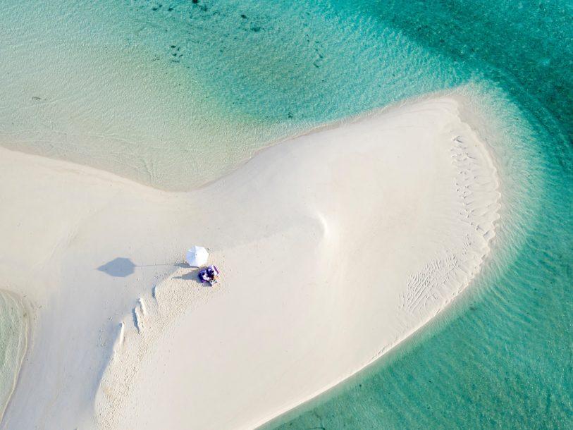 Soneva Jani Luxury Resort - Noonu Atoll, Medhufaru, Maldives - White Sand Beach Dining Aerial