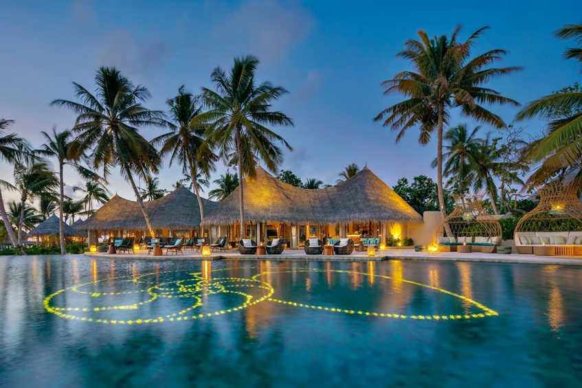 The Nautilus Maldives Luxury Resort - Thiladhoo Island, Maldives - Resort Pool Dusk