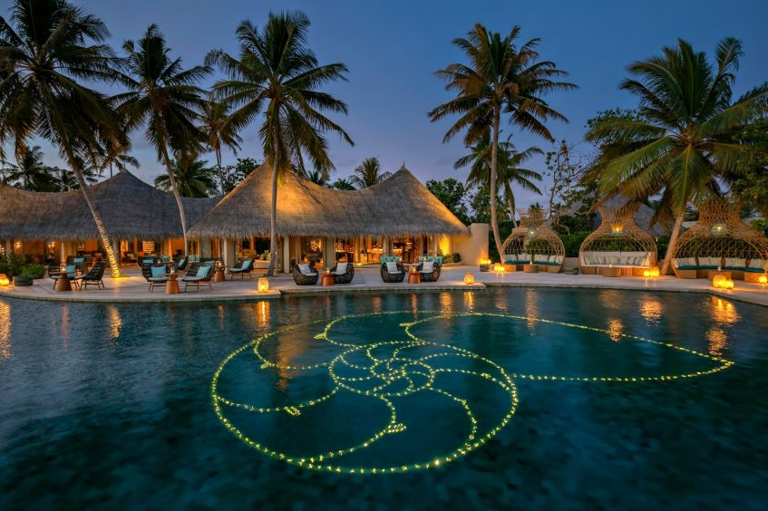 The Nautilus Maldives Luxury Resort - Thiladhoo Island, Maldives - Resort Pool Night