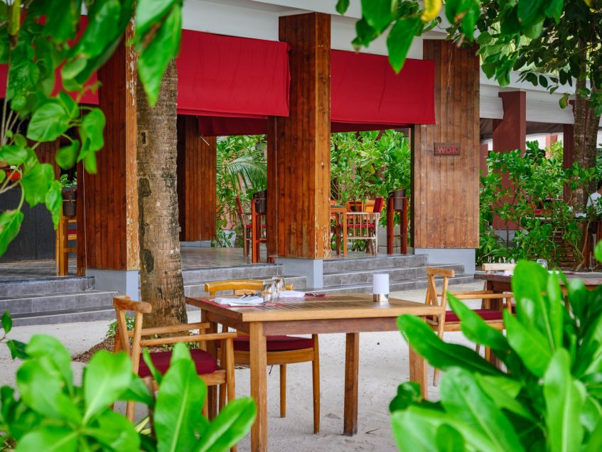 Amilla Fushi Luxury Resort and Residences - Baa Atoll, Maldives - EAST Restaurant Outdoor Table Seating