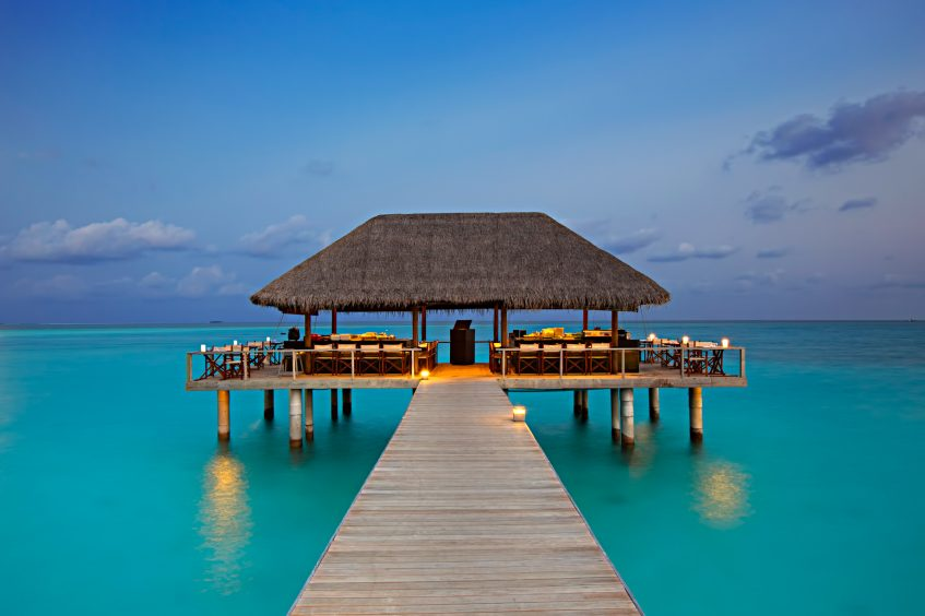 Velassaru Maldives Luxury Resort – South Male Atoll, Maldives - Overwater Restaurant Sunset