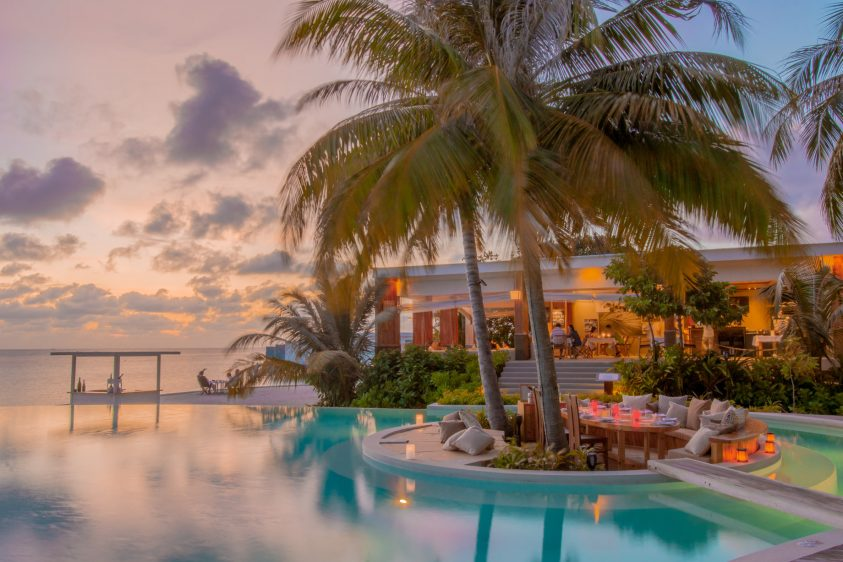 Amilla Fushi Luxury Resort and Residences - Baa Atoll, Maldives - Pool Island Dinner Sunset