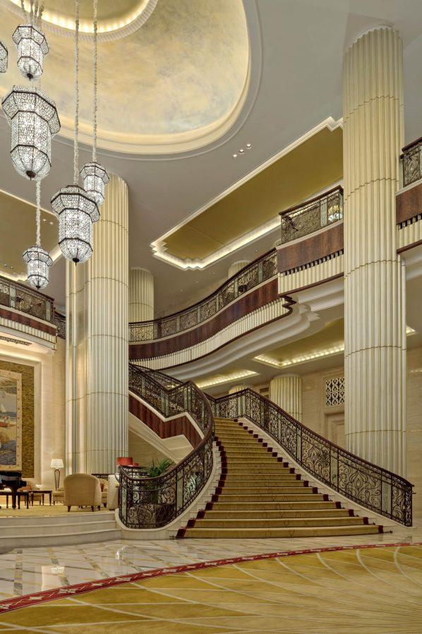 The St. Regis Abu Dhabi Luxury Hotel - Abu Dhabi, United Arab Emirates - Grand Lobby Chandeliers