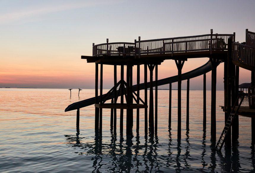 Soneva Jani Luxury Resort - Noonu Atoll, Medhufaru, Maldives - The Gathering Ocean Water Slide Sunset