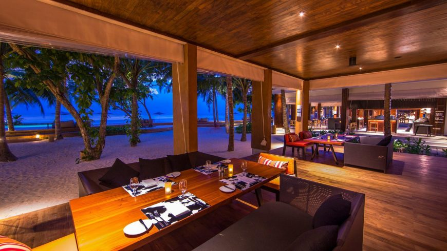 Amilla Fushi Luxury Resort and Residences - Baa Atoll, Maldives - Beachfront Dining Sunset